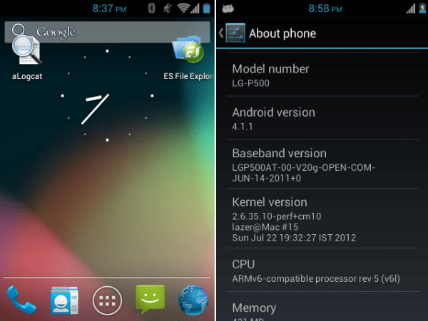 Jelly Bean LG P500 - Install Jelly Bean 4.1.1 ROM (Working Camera) on LG P500 optimus one [Cyanogenmod 10]
