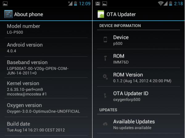Oxygen ICS ROM OTA update e