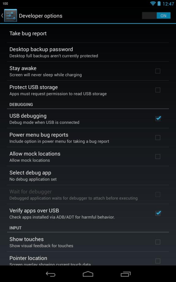 Nexus 7 USB Debugging